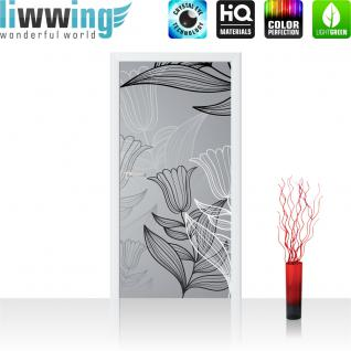 liwwing Türtapete selbstklebend 91x211 cm PREMIUM PLUS Tür Fototapete Türposter Türpanel Foto Tapete Bild - Abstrakt Blumen Blüte - no. 1104