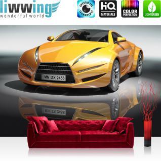 liwwing Vlies Fototapete 312x219cm PREMIUM PLUS Wand Foto Tapete Wand Bild Vliestapete - Autos Tapete Sportwagen Auto Spiegelung gelb - no. 1591