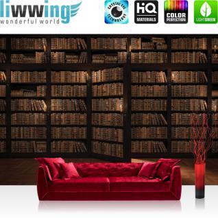 liwwing Fototapete 368x254 cm PREMIUM Wand Foto Tapete Wand Bild Papiertapete - Holz Tapete Laminat Bücher Regal Schrank Tür Kacheln braun - no. 3042