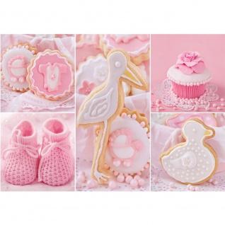 Fototapete Mädchen Tapete Cupcake, Storch, Baby, Babyschue, Kekse rosa | no. 3338