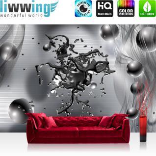 liwwing Vlies Fototapete 350x245 cm PREMIUM PLUS Wand Foto Tapete Wand Bild Vliestapete - 3D Tapete Abstrakt Blei Flüssigkeit Tropfen Perlen Geflecht Netz 3D Optik anthrazit - no. 886