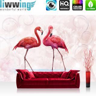 liwwing Vlies Fototapete 416x254cm PREMIUM PLUS Wand Foto Tapete Wand Bild Vliestapete - Tiere Tapete Pelikane Wasser Ornamente rosa - no. 3261
