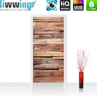 Türtapete - Holzwand Steinoptik Holz Wand Mauer Holztapete | no. 174 - Vorschau 2