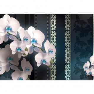 Fototapete Orchideen Tapete Blumen Blüten Blätter Orchideen Streifen Perlen anthrazit   no. 2616
