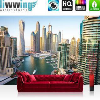 liwwing Vlies Fototapete 416x254cm PREMIUM PLUS Wand Foto Tapete Wand Bild Vliestapete - Skylines Tapete Dubai Land Skyline Hafen türkis - no. 3115