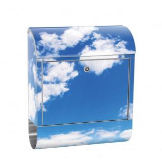 Edelstahl Wandbriefkasten XXL mit Motiv & Zeitungsrolle | Himmel Wolken Blau Romantisch Urlaub | no. 0154