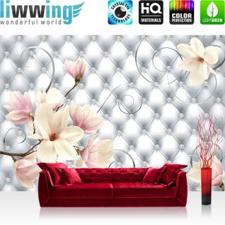 liwwing Vlies Fototapete 400x280 cm PREMIUM PLUS Wand Foto Tapete Wand Bild Vliestapete - Blumen Tapete Blumen Blüten Diamant Schnörkel grau - no. 950