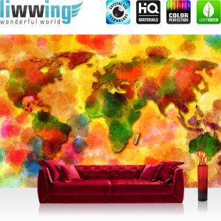liwwing Fototapete 368x254cm PREMIUM Wand Foto Tapete Wand Bild Papiertapete - Welt Tapete Weltkarte Aquarell bunt - no. 3332