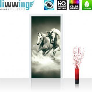 liwwing Vlies Türtapete 91x211 cm PREMIUM PLUS Tür Fototapete Türposter Türpanel Foto Tapete Bild - Einhörner Wasser - no. 1018