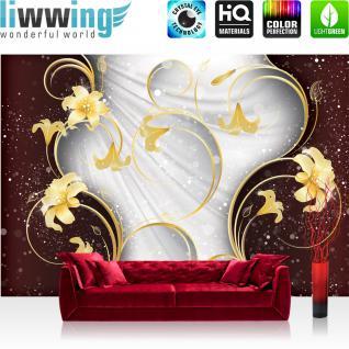liwwing Vlies Fototapete 104x50.5cm PREMIUM PLUS Wand Foto Tapete Wand Bild Vliestapete - Ornamente Tapete Blume Ranke Streifen Blätter Kunst weiß - no. 2001 - Vorschau 1