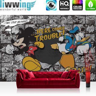 liwwing Fototapete 254x168 cm PREMIUM Wand Foto Tapete Wand Bild Papiertapete - Disney Tapete Disney - Mickey Mouse Kindertapete Cartoon Comic Maus Walt Disney grau - no. 1064