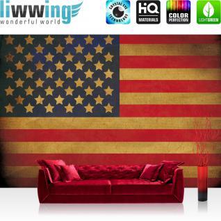liwwing Vlies Fototapete 208x146cm PREMIUM PLUS Wand Foto Tapete Wand Bild Vliestapete - Texturen Tapete Star Spangled Banner Flagge USA Amerika bunt - no. 3451