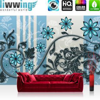 liwwing Vlies Fototapete 416x254cm PREMIUM PLUS Wand Foto Tapete Wand Bild Vliestapete - Blumen Tapete Blüten Blätter Kunst Schnörkel blau - no. 2630