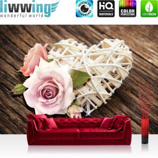 liwwing Vlies Fototapete 312x219cm PREMIUM PLUS Wand Foto Tapete Wand Bild Vliestapete - Blumen Tapete Rose Blume Blüte Herz Holz braun - no. 1542