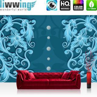 liwwing Vlies Fototapete 312x219cm PREMIUM PLUS Wand Foto Tapete Wand Bild Vliestapete - Illustrationen Tapete Ornamente Perlen Muster Ranke blau - no. 3012