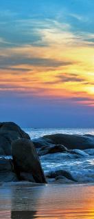 Türtapete - Strand Felsen Meer Wellen Sonnenuntergang | no. 453 - Vorschau 5