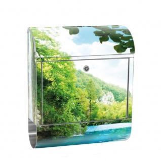 Edelstahl Wandbriefkasten XXL mit Motiv & Zeitungsrolle | Wasserfall Paradies Berge Wald Bäume Landschaft | no. 0035