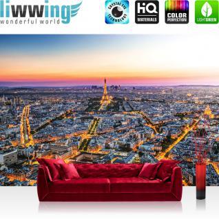 liwwing Vlies Fototapete 312x219cm PREMIUM PLUS Wand Foto Tapete Wand Bild Vliestapete - Frankreich Tapete Skyline Paris Sonnenuntergang Eiffelturm orange - no. 1225
