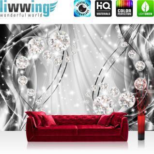 liwwing Fototapete 254x184cm PREMIUM Wand Foto Tapete Wand Bild Papiertapete - Ornamente Tapete Perlen Diamanten Wellen grau - no. 3315