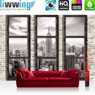 liwwing Vlies Fototapete 152.5x104cm PREMIUM PLUS Wand Foto Tapete Wand Bild Vliestapete - New York Tapete Manhattan Städte Länder Skyline Steine Wand Fenster beige - no. 1384