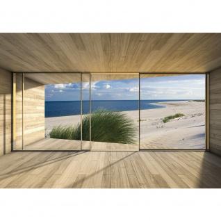Fototapete Architektur Tapete Terrasse Balkon Fenster Holzwand Strand Meer Dünen beige | no. 1530