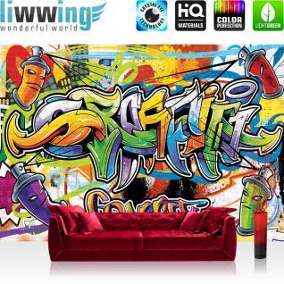 liwwing Vlies Fototapete 350x245 cm PREMIUM PLUS Wand Foto Tapete Wand Bild Vliestapete - Graffiti Tapete Kindertapete Dose Sprayer bunt - no. 342
