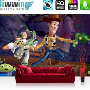 liwwing Vlies Fototapete 416x254cm PREMIUM PLUS Wand Foto Tapete Wand Bild Vliestapete - Disney Tapete Toy Story Woody Buzz Lightyear Kindertapete lila - no. 2258