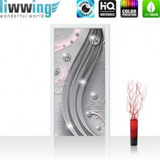 liwwing Vlies Türtapete 91x211 cm PREMIUM PLUS Tür Fototapete Türposter Türpanel Foto Tapete Bild - Abstrakt Kugeln Muster Streifen - no. 555