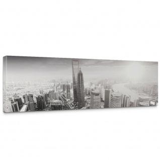 Leinwandbild Black and White Shanghai Sunset Skyline Skyline Shanhai Wolkenkratzer | no. 49 - Vorschau 1