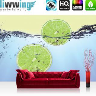 liwwing Vlies Fototapete 400x280 cm PREMIUM PLUS Wand Foto Tapete Wand Bild Vliestapete - Kulinarisches Tapete Limettenscheiben Wasser Zitrone Limone grün - no. 295