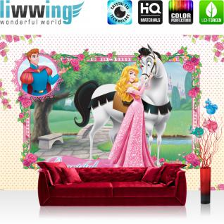 liwwing Vlies Fototapete 300x210 cm PREMIUM PLUS Wand Foto Tapete Wand Bild Vliestapete - Disney Tapete - Princesses Kindertapete Cartoon Cinderella Pferd Prinz Märchen Schloss rosa - no. 893