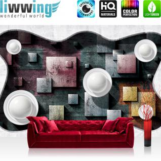 liwwing Vlies Fototapete 312x219cm PREMIUM PLUS Wand Foto Tapete Wand Bild Vliestapete - Kunst Tapete Abstrakt Design Viereck Kreise Kacheln 3D Optik weiß - no. 2412