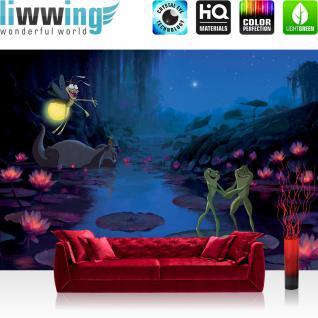 liwwing Vlies Fototapete 312x219cm PREMIUM PLUS Wand Foto Tapete Wand Bild Vliestapete - Disney Tapete Küss den Frosch Prinzessin Frosch Cartoon Kindertapete blau - no. 3128