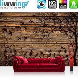 liwwing Vlies Fototapete 312x219cm PREMIUM PLUS Wand Foto Tapete Wand Bild Vliestapete - Holz Tapete Holzwand Holzoptik Holz Schatten Malerei Baum Gras Vögel braun - no. 2050