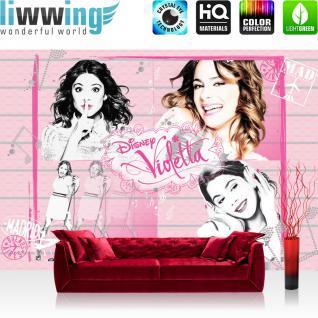 liwwing Fototapete 254x168 cm PREMIUM Wand Foto Tapete Wand Bild Papiertapete - Disney Tapete Disney - Violetta Kindertapete Mädchen Singen Musik rosa - no. 503