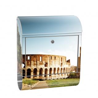 Edelstahl Wandbriefkasten XXL mit Motiv & Zeitungsrolle   Rom Kolosseum Italien Landschaft Architektur   no. 0052