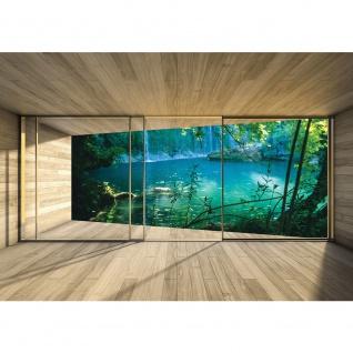 Fototapete Holz Tapete Holzoptik Holztapete Rahmen Fenster Wasserfall See beige | no. 2278