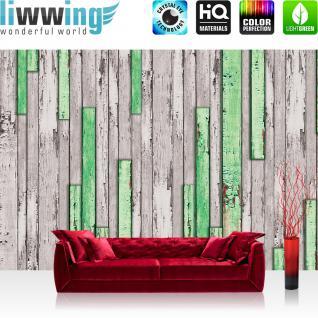 liwwing Fototapete 368x254 cm PREMIUM Wand Foto Tapete Wand Bild Papiertapete - Holz Tapetewand Holz Wand Leisten Bretter grün - no. 1269