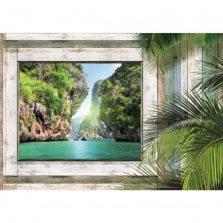 Fototapete Holz Tapete Holzoptik Rahmen Fenster Bucht Wasser Palmen Meer grau | no. 3008