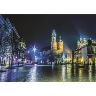 Fototapete Stadt Tapete Nacht Lichter Kirche Winter Regen Promenade blau   no. 2100