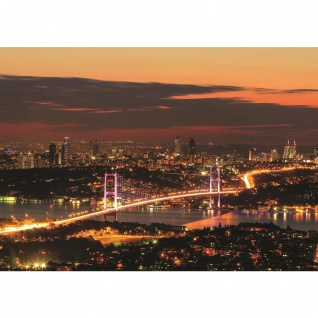 Fototapete Sonnenuntergang Tapete Brücke Himmel Stadt Skyline Sonnenuntergang orange | no. 1698