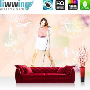 liwwing Fototapete 254x168 cm PREMIUM Wand Foto Tapete Wand Bild Papiertapete - Disney Tapete Disney - Violetta Kindertapete Mädchen Singen Musik beige - no. 504