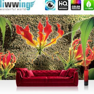 liwwing Vlies Fototapete 312x219cm PREMIUM PLUS Wand Foto Tapete Wand Bild Vliestapete - Orchideen Tapete Orchidee Blume Blüte Steinwand braun - no. 2952