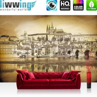 liwwing Vlies Fototapete 104x50.5cm PREMIUM PLUS Wand Foto Tapete Wand Bild Vliestapete - Architektur Tapete Wasser Vintage Schiff Schloss Stadt sepia - no. 3032