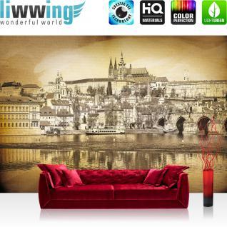 liwwing Vlies Fototapete 208x146cm PREMIUM PLUS Wand Foto Tapete Wand Bild Vliestapete - Architektur Tapete Wasser Vintage Schiff Schloss Stadt sepia - no. 3032