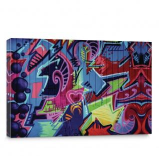 Leinwandbild Kinder Graffiti Malerei bunt Muster Schrift | no. 408