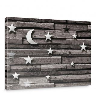Leinwandbild Holzwand Holzoptik Mond Sterne Schatten | no. 937