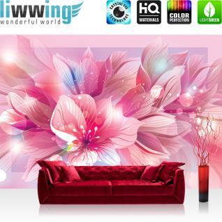 liwwing Vlies Fototapete 416x254cm PREMIUM PLUS Wand Foto Tapete Wand Bild Vliestapete - Blumen Tapete Blume Blüten Punkte pink - no. 1684