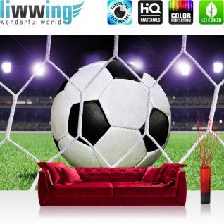 liwwing Fototapete 368x254 cm PREMIUM Wand Foto Tapete Wand Bild Papiertapete - Fußball Tapete Fußball Netz Rasen Licht Stadion bunt weiß - no. 431