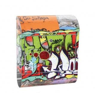 Edelstahl Wandbriefkasten XXL mit Motiv & Zeitungsrolle | Kinderzimmer Graffiti Streetart Sprayer 3D bunt | no. 0032